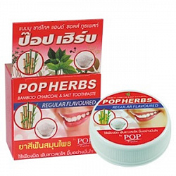 Паста зубная с углем и солю 30 г POP HERBS Bamboo