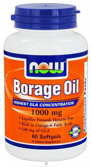 Борадж Ойл / Borage Oil / гамма-линоленовая кислота • 60 капс, 1000 мг